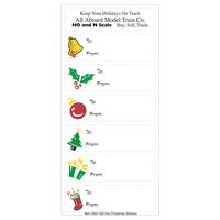 White Paper Christmas Holiday Sticker Sheet (Holly/ Gift/ Bell/ Ornament)