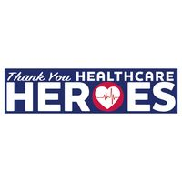 """Thank You Healthcare Heroes Ultra Removable Bumper Sticker (3""""x11 1/2"""")"""