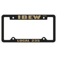 Black Auto License Frame w/ 4 Holes & Large Top Panel