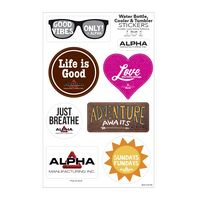 "Water Bottle, Cooler & Tumbler Sticker Sheet/ 7 Stock Shapes (7""x11"" Sheet)"