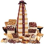 Custom Golden Delights Giant Party Tower with Sheer Burgundy Ribbon