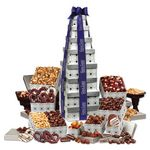 Custom Silver Delights Giant Party Tower with Blue Ribbon