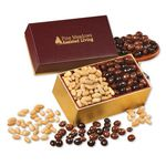 Custom Peanuts & Chocolate Peanuts in Burgundy & Gold Gift Box