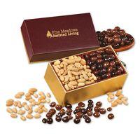 Peanuts & Chocolate Peanuts in Burgundy & Gold Gift Box