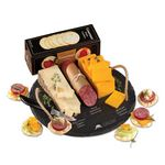 Custom Round Slate Serving Plate with Wisconsin Cheese & Sausage