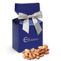 Extra Fancy Jumbo Cashews in Metallic Blue Gift Box