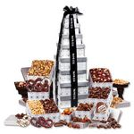 Custom Silver Delights Giant Party Tower with Black Ribbon