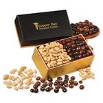 Custom Peanuts & Chocolate Covered Peanuts in Black & Gold Gift Box