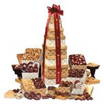 Custom Golden Delights Giant Party Tower with Burgundy Ribbon