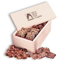 English Butter Toffee & Chocolate Covered Almonds in Wooden Collector