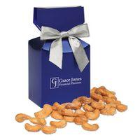 Honey Roasted Cashews in Metallic Blue Gift Box