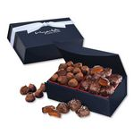 Custom Chocolate Sea Salt Caramels & Cocoa Dusted Truffles in Navy Magnetic Closure Box