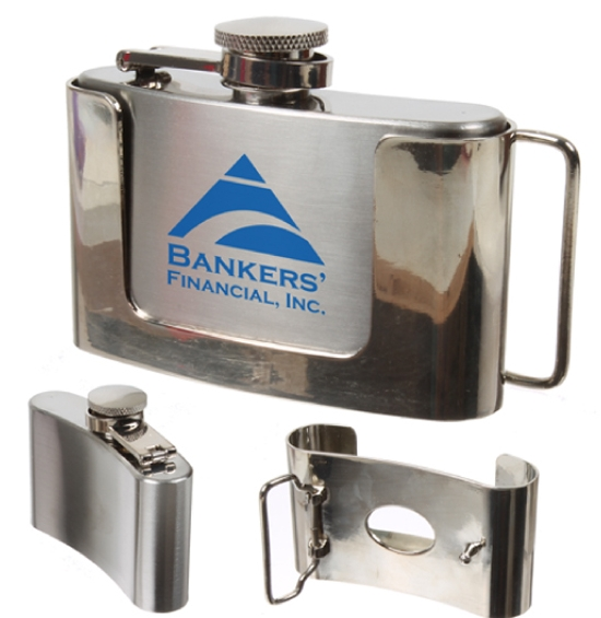 3 Oz. Stainless Steel Flask w/Belt Buckle Attachment