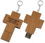Wood Cross USB Drive w/Keychain - 4 GB