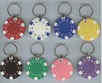 Poker Chip Key Ring - Striped Dice Design