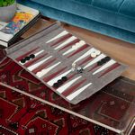Custom Grey suede roll-up backgammon travel set with playing pieces included