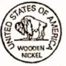 Custom Stock Cuts Wooden Buffalo Nickel w/ United States of America