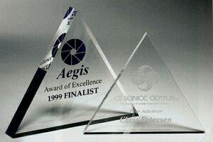 Mini Triangle Paperweight Award (4x3/8)