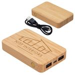 Custom Bamboo 5000mAh Dual Port Power Bank with Wireless Charger