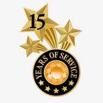 Custom 15 Years Of Service Triple Star Lapel Pin With Jewel Box