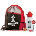 Custom I'm A Fire-Safe Kid Deluxe Drawstring Backpack With Water Bottle Value Kit