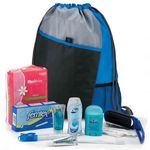 Custom Female 11-Piece Hygiene Kit with Sport Drawstring Backpack