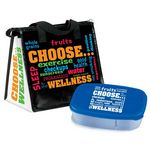 Custom Choose Wellness Insulated Lunch Bag & 2 Section Food Container Gift Combo