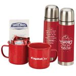 Custom Campfire Mug & Insulated Thermos Gift Basket with Holiday Card and Bow - Personalization Available
