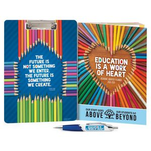 Education Is A Work Of Heart Clipboard Full Color Pen Academic