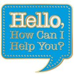 Custom Hello, How Can I Help You? Lapel Pin With Presentation Card