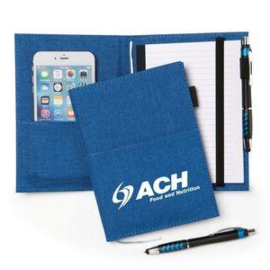 Personalized: Fabric Pocket Journal w/Stylus Pen (Blue)