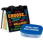 Custom Choose Wellness Insulated Lunch Bag & 2-Section Food Container Gift Combo With Personalization