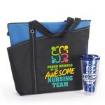 Custom Proud Member Of An Awesome Nursing Team Meadowbrook Tote & Fruit-To-Go Infuser Tumbler Gift Combo