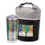 Custom Caring Is Always In Season Bellmore Cooler Lunch Bag & Full-Color Insulated Travel Tumbler Combo