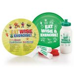 Custom Eat Wise & Exercise! Flyer Disc & Educational Card, Jump Rope & Water Bottle Combo