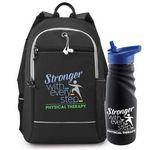 Custom Physical Therapy Stronger With Every Step Bayside Backpack & Tahoe Grip Water Bottle Gift Set