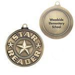 Custom Star Reader Gold Academic Medallion - Personalization Available