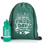 Custom Field Day Drawstring Backpack & Water Bottle Combo