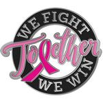Custom Together We Fight, Together We Win Breast Cancer Awareness Lapel Pin with Presentation Card