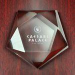 Custom Pentagon Glass Crystal Paperweight