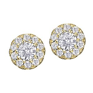 Diamond Framed Stud Earrings In 14k Yellow Gold 0 128 Ct T W E2403 14y Brilliant Promotional Products