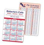 2-Color Calendar & Information Panel Laminated Wallet Card w/Border