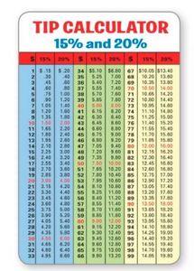Tip Calculator Info Panel w/ Full-Color 10 Mil PVC Plastic Calendar Card