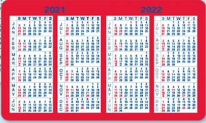 Wallet Calendar 2020 2 Color Information Panel Laminated Wallet Card   2020 2021 2