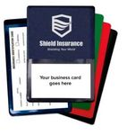 Custom Foil-Stamped Vinyl Insurance Card Holder w/Front Business Card Pocket