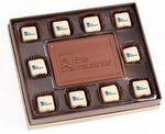 Custom 10-pc Chocolate Truffle Window Box w/ Custom Imprint & Centerpiece