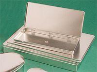 "Silver Hinged Designer Tin - Deep Presentation Folder (12""x9""x1 3/4"")"
