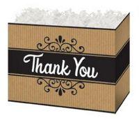 Small Thank You Kraft Stripes Theme Gift Basket Box