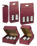 Custom Bordeaux Texture Ribbed Italian Wine 3 Bottle Box w/Dividers