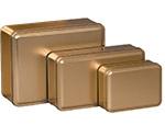 """2 Piece Gold Rectangle Metallic Tin (6 1/8""""x6 1/8""""x2 5/8"""")"""